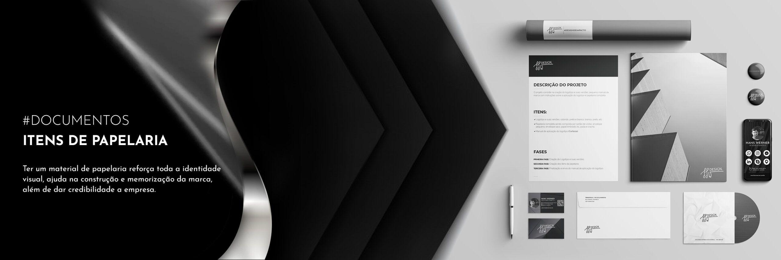 Design papelaria timbrados documentos cartões de visita designer rj hans werner designer gráfico